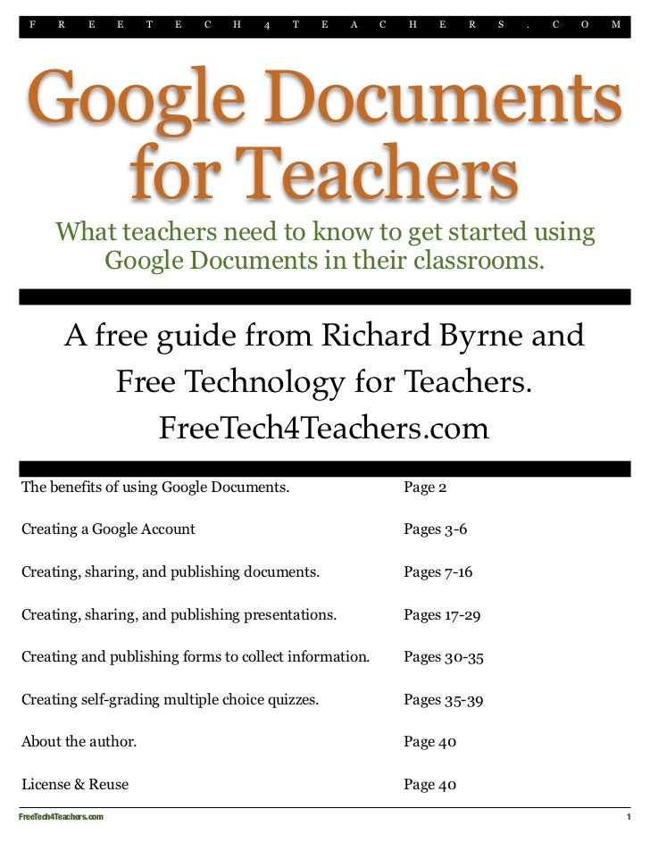 F    R      E       E   T   E   C   H   4   T   E   A   C   H    E      R   S   .   C   O   M Google Documents   for Teach...