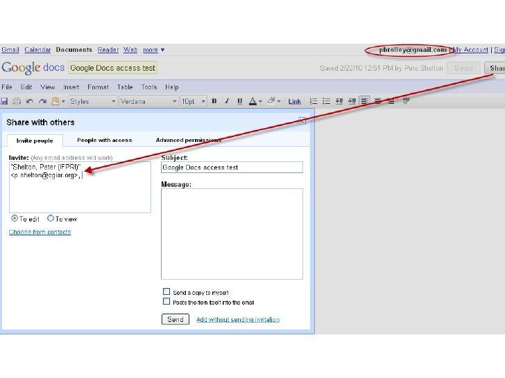 Google docs cgiar