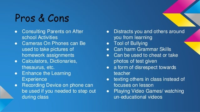 pros and cons homework