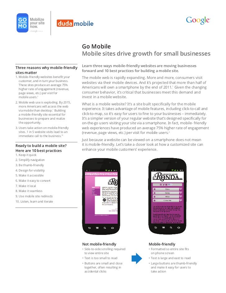 Google and DudaMobile Guide to Creating Awesome Mobile Websites