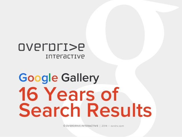 © OVERDRIVE INTERACTIVE | 2014 | ovrdrv.com Google Gallery 16 Years of Search Results