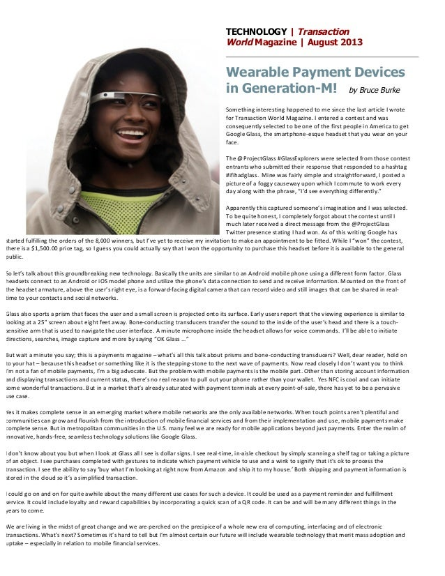 Google Glass - Transaction World Magazine - Wearable Payment Devices in Generation-M!