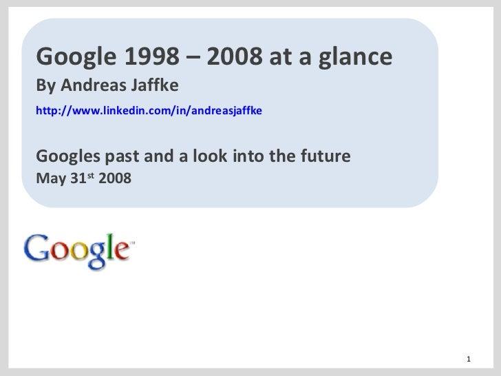 Google at a glance 1998 - 2008