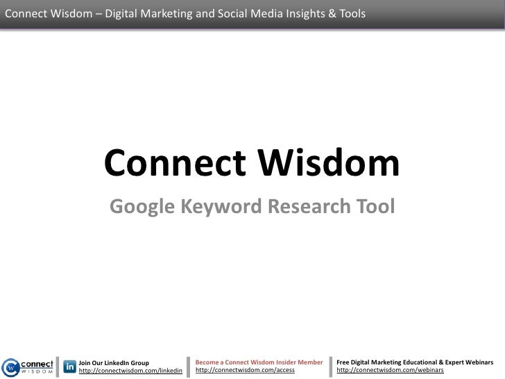 Google Keyword Research Tool - An Introduction To A Fantastic Tool
