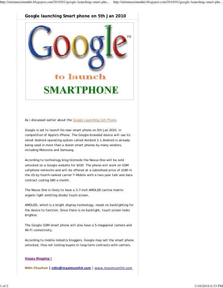 Google Launching Smart Phone On 5th Jan 2010