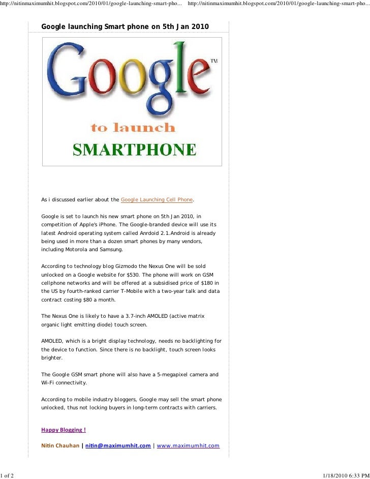 Google Launching Smart Phone On 5th Jan 2010