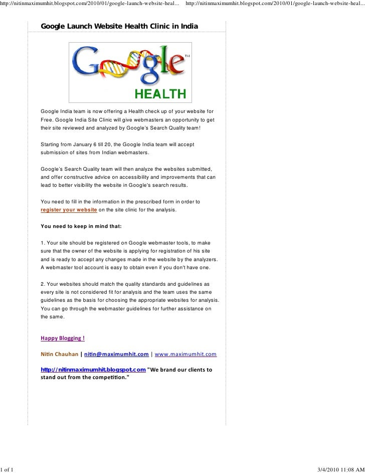 Google Launch Website Health Clinic In India