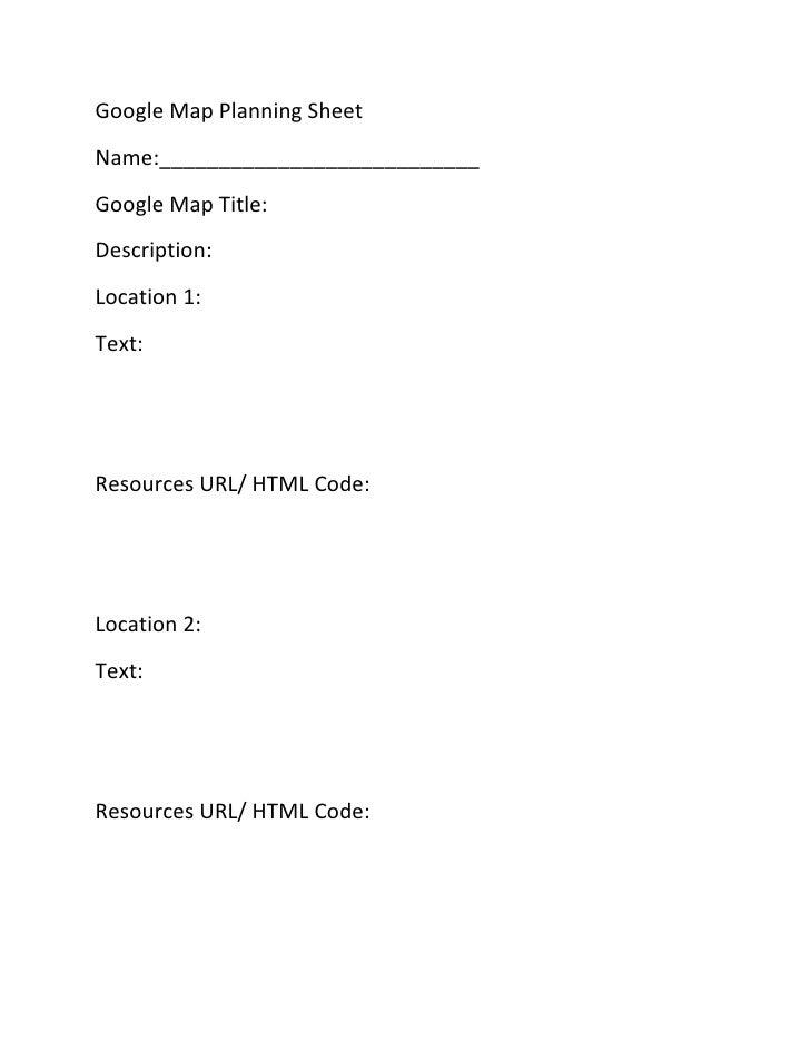 Google Map Planning Sheet