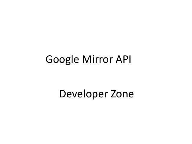 Google mirror api developer zone