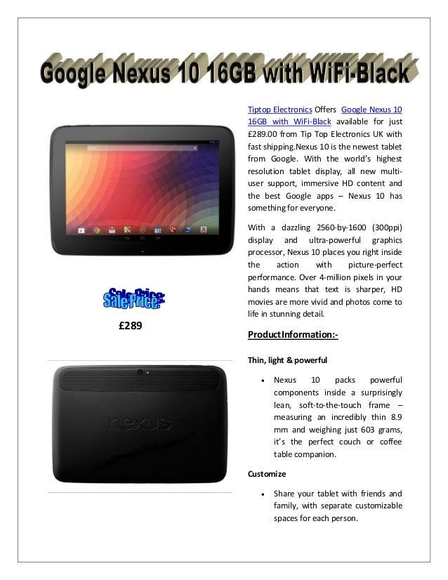 Google nexus 10 16 gb with wifi blac