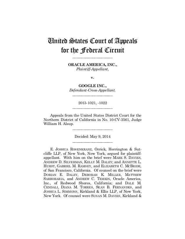 United States Court of Appeals for the Federal Circuit ______________________ ORACLE AMERICA, INC., Plaintiff-Appellant, v...