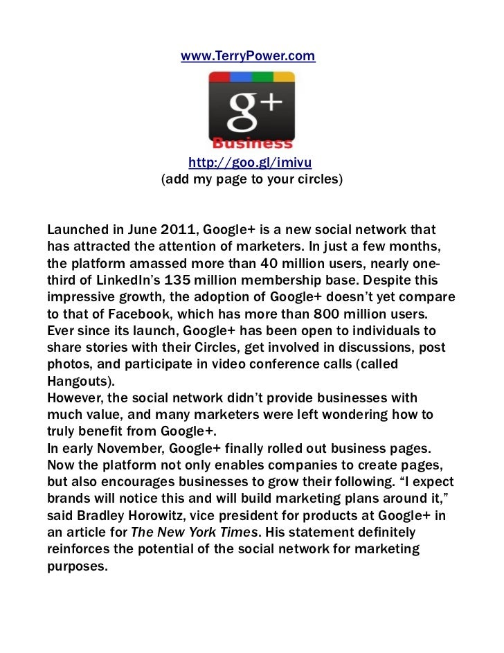Google+ pages for businesses