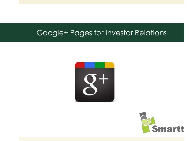 Google+ Pages for Investor Relations