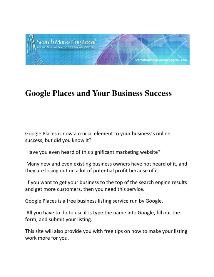 Google Places and Your Business Success...