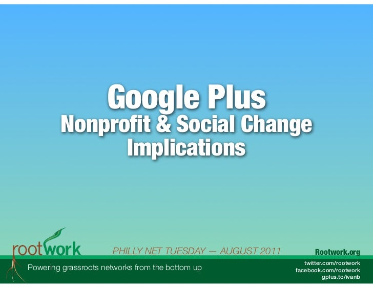Google Plus        Nonprofit & Social Change              Implications                      PHILLY NET TUESDAY — AUGUST 20...