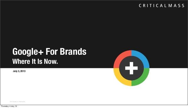 Google+ For Brands in 2013