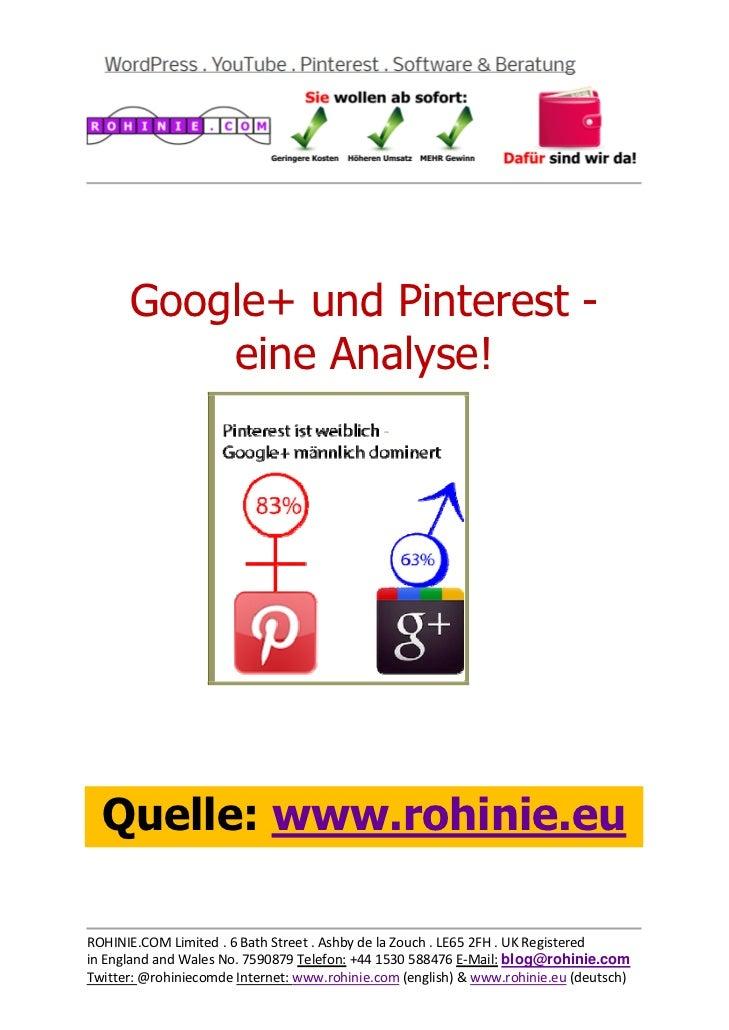 Google plus und Pinterest - eine Analyse!