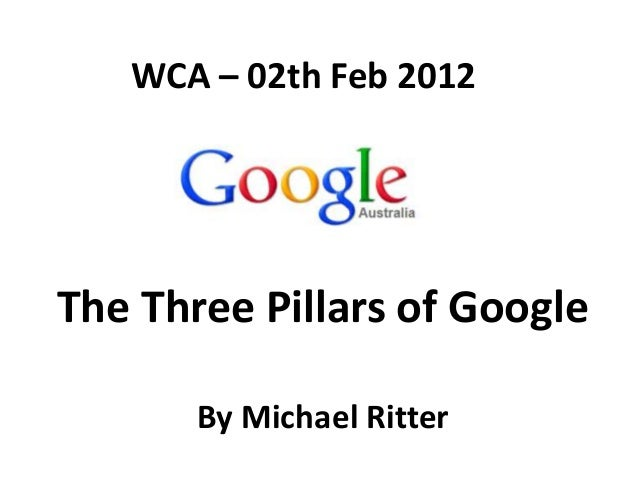 WCA – 02th Feb 2012The Three Pillars of Google       By Michael Ritter