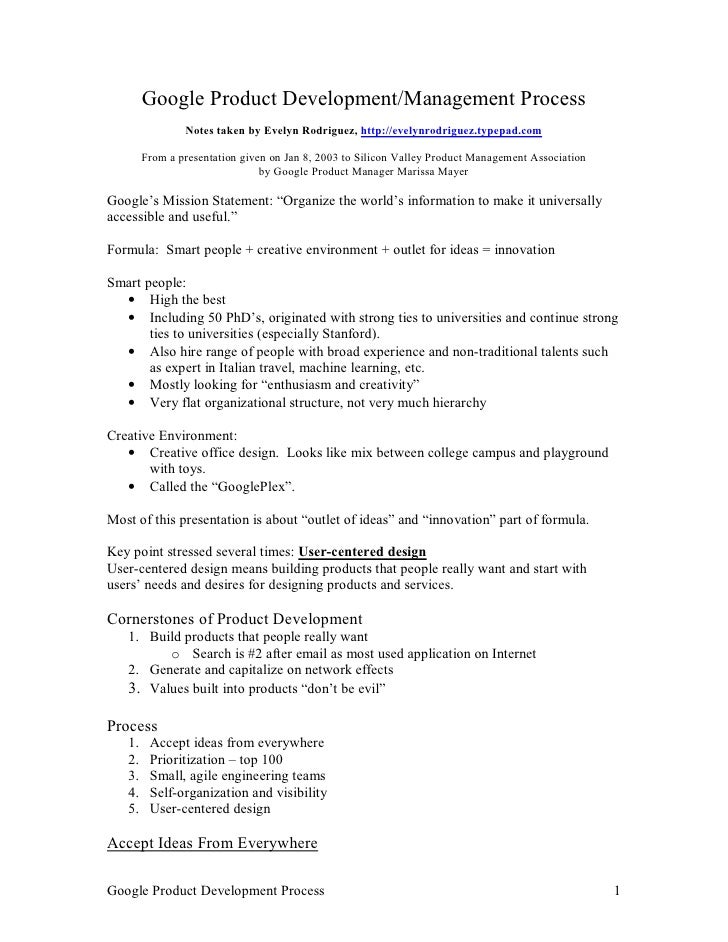 Google Product Development/Management Process                 Notes taken by Evelyn Rodriguez, http://evelynrodriguez.type...