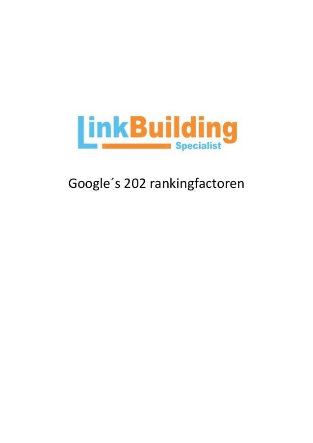 Google´s 202 rankingfactoren