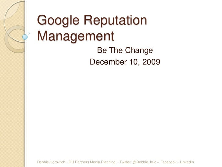 Google rep mgmt for be the change dec 4