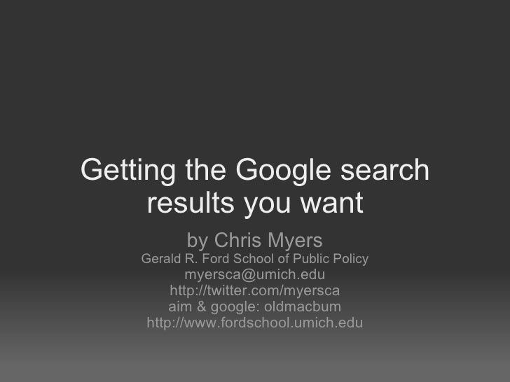 Getting the Google Search results you want