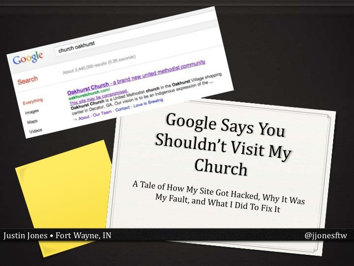 Google says you shouldn't visit my church #wclou