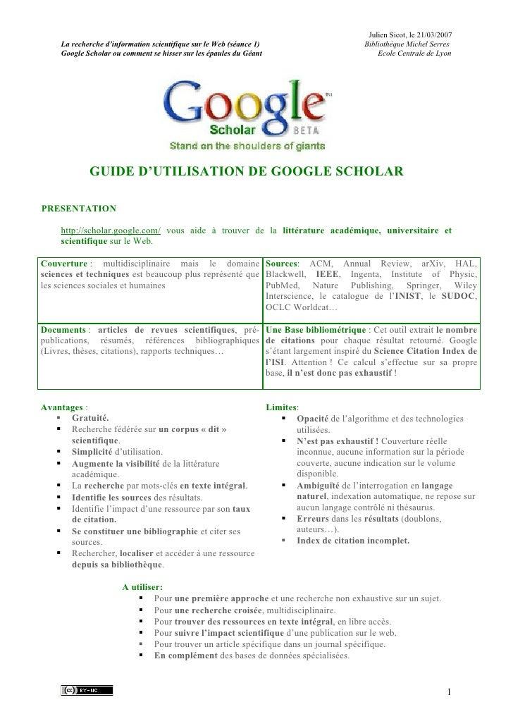 Julien Sicot, le 21/03/2007      La recherche d'information scientifique sur le Web (séance 1)                           B...