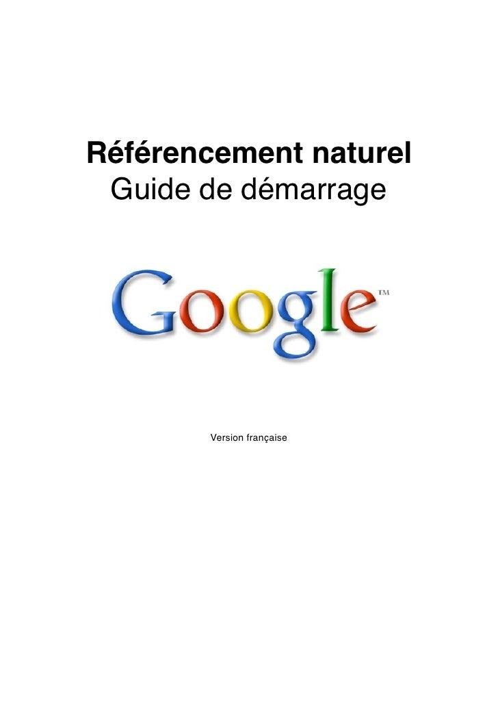 Référencement naturel  Guide de démarrage             Version française