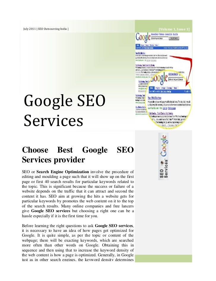 [Volume 1, Issue 1]July 2011 | SEO Outsourcing India | Google SEO ServicesChoose Best Google SEO Services providerSEO or S...