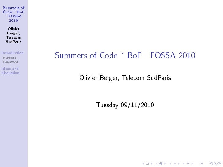 Google summer of code - fossa2010