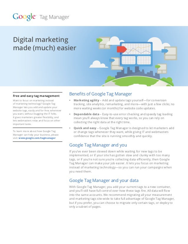 Digital marketingmade (much) made (much) easier  Digital marketing easierFree and easy tag management                  Ben...
