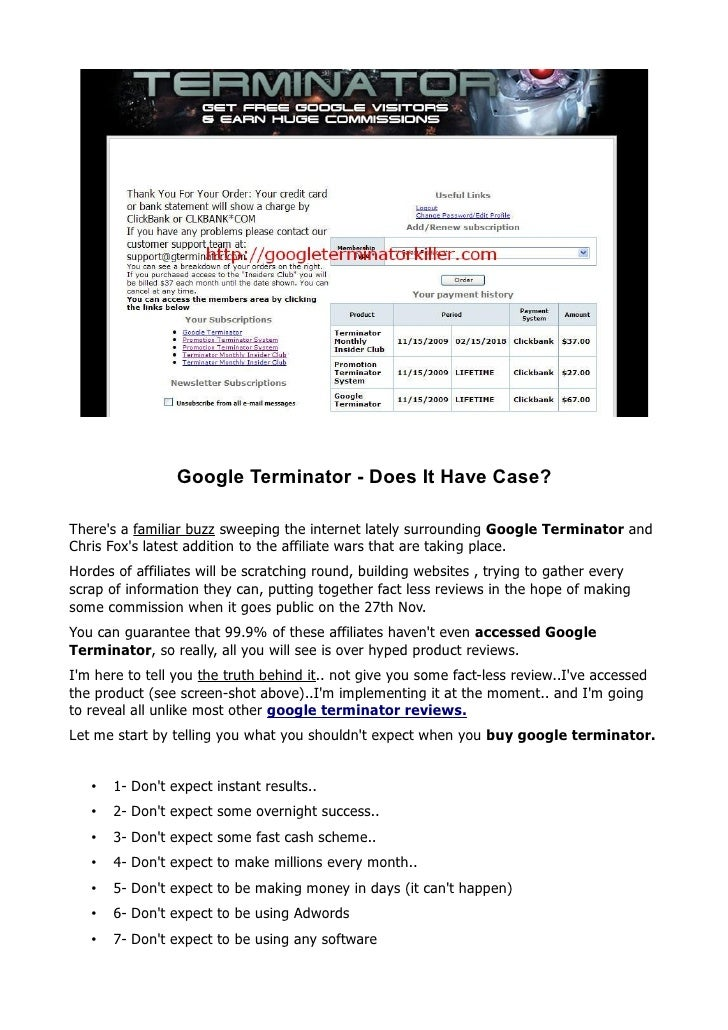 Google Terminator - Does It Have Case?  There's a familiar buzz sweeping the internet lately surrounding Google Terminator...