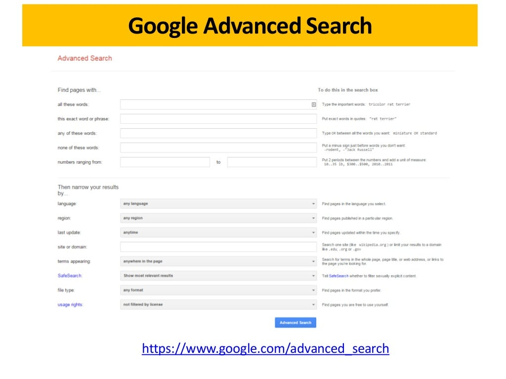 how to use advanced search on google