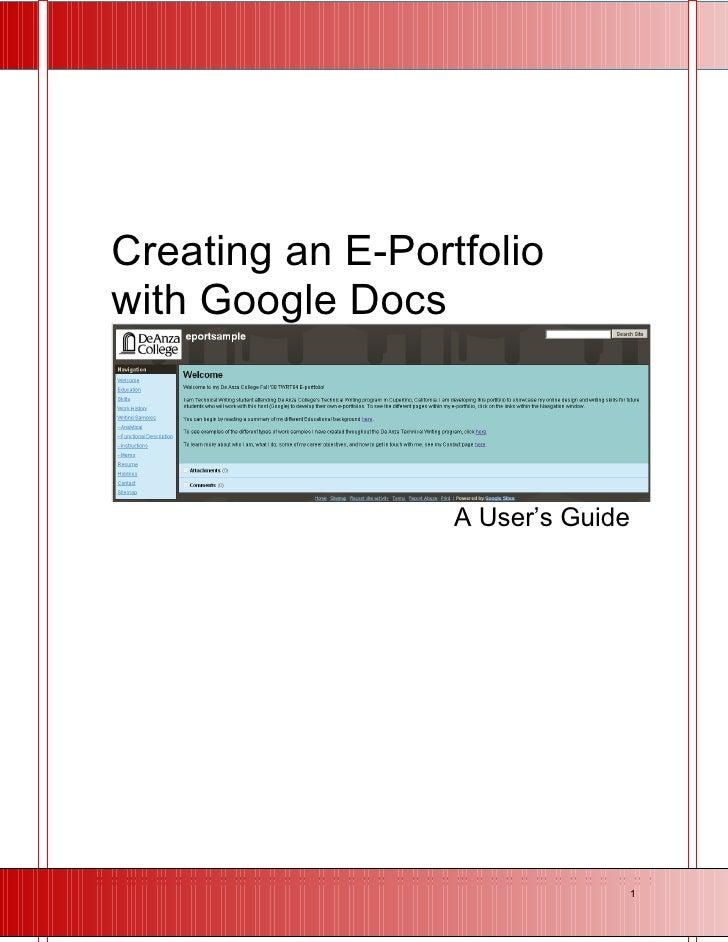 Creating an E-Portfolio with Google Docs                      A User's Guide                                        1