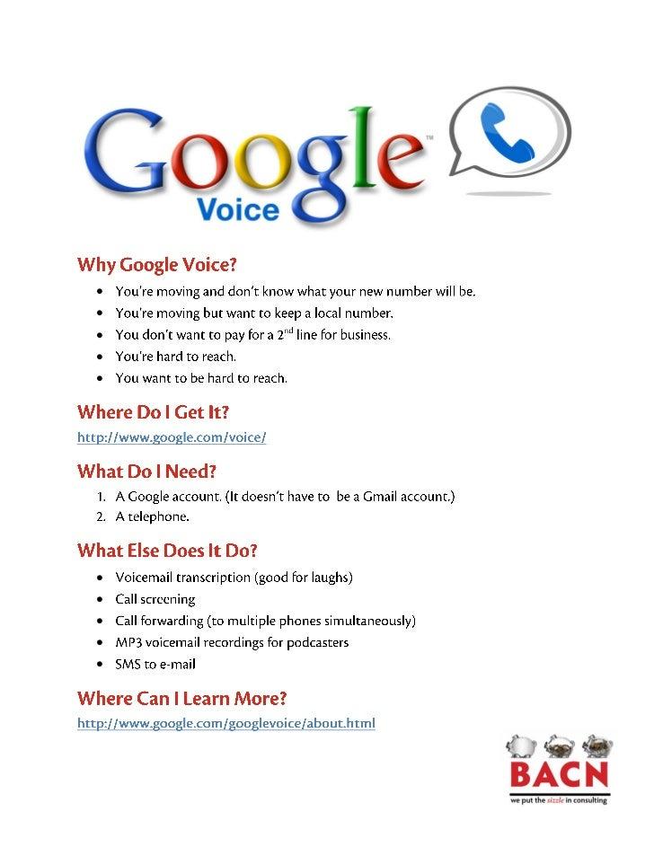 Google voice handout