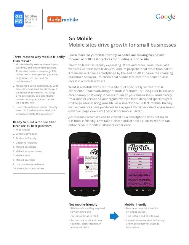 Go Mobile                                             Mobile sites drive growth for small businesses                      ...