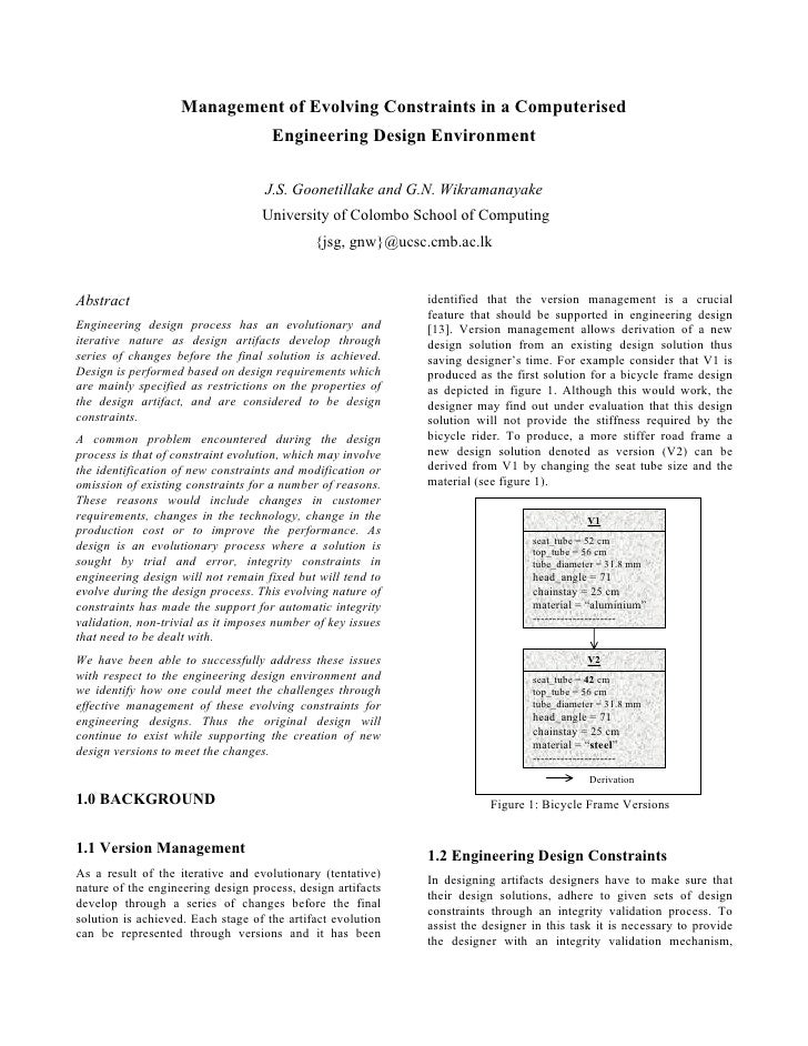 Management of Evolving Constraints in a Computerised                                      Engineering Design Environment  ...