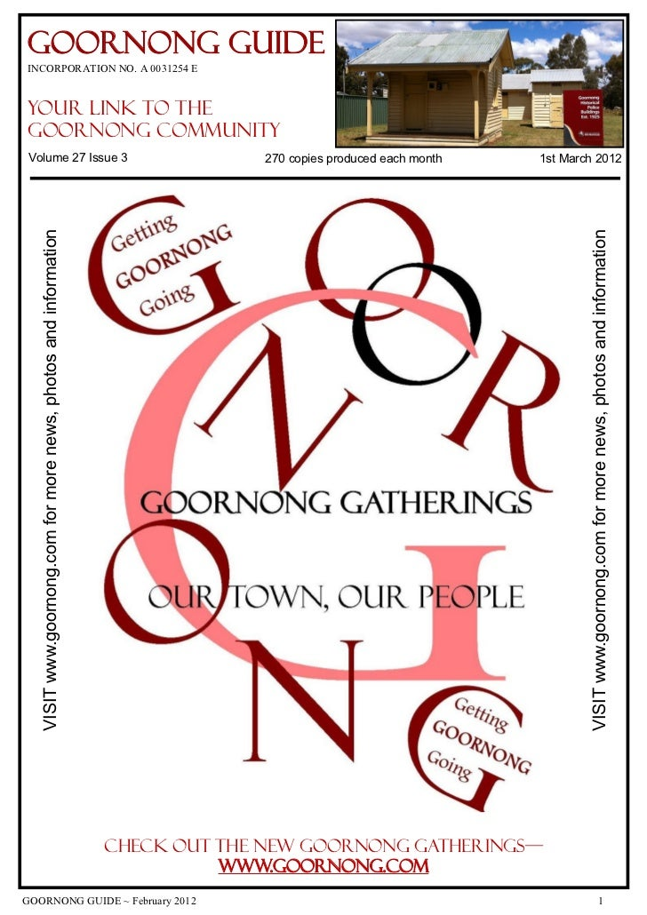 Goornong GuideINCORPORATION NO. A 0031254 Eyour link to theGoornong CommunityVolume 27 Issue 3                            ...