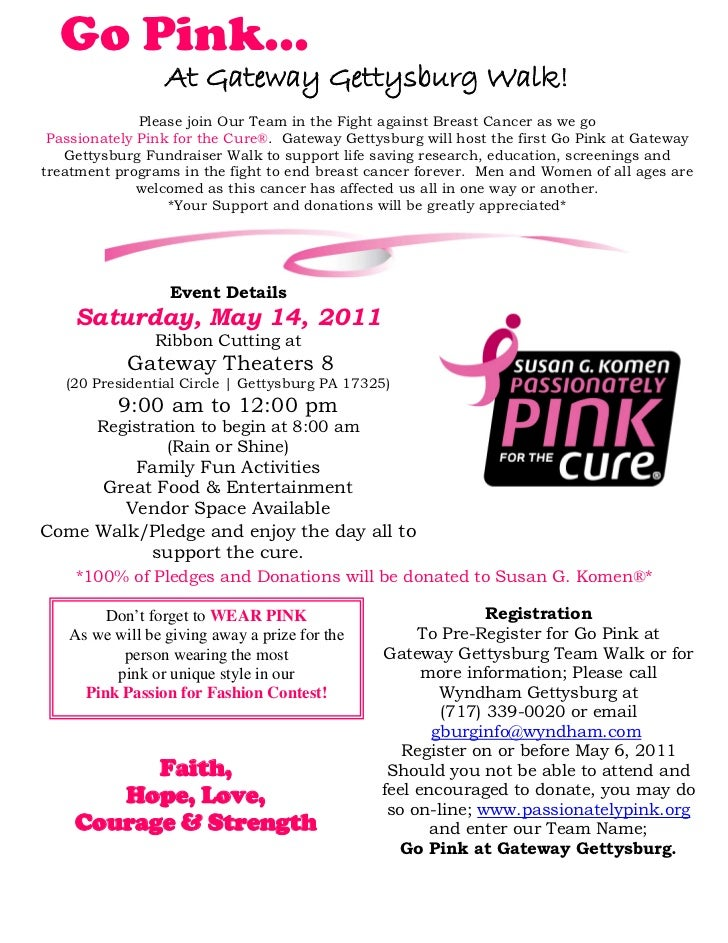Go Pink…                 At Gateway Gettysburg Walk!              Please join Our Team in the Fight against Breast Cancer ...