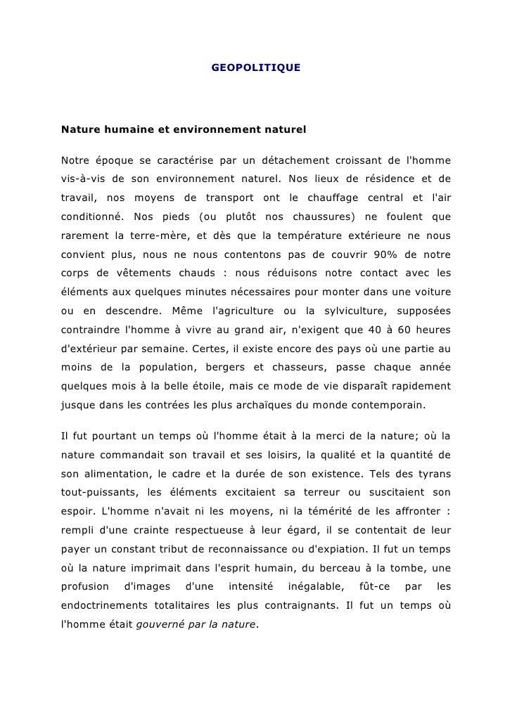 GEOPOLITIQUENature humaine et environnement naturelNotre époque se caractérise par un détachement croissant de lhommevis-à...