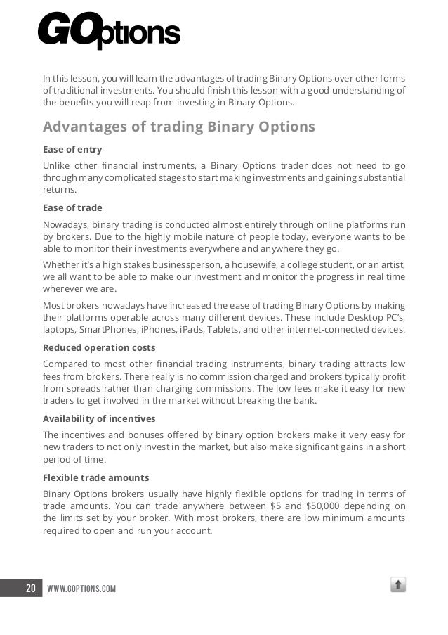 Benefits of binary options trading