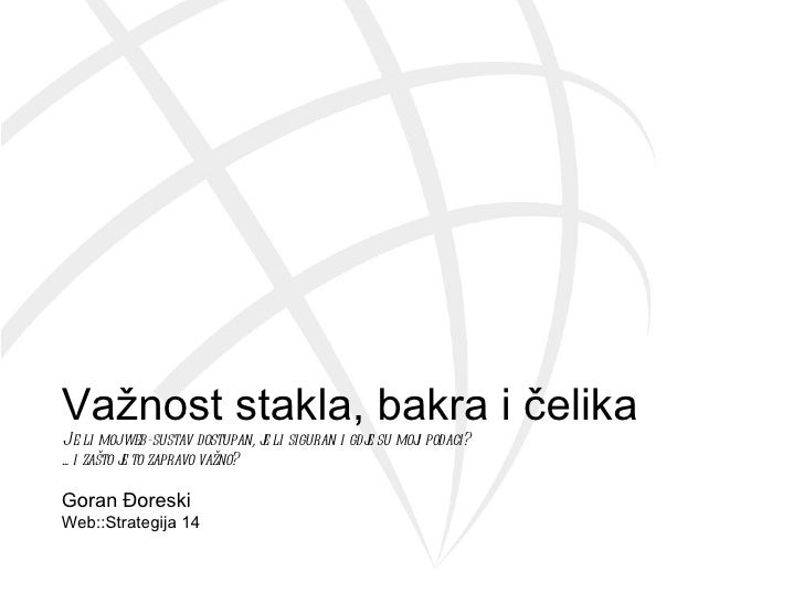 (WS14) Goran Đoreski - Važnost stakla, bakra i čelika