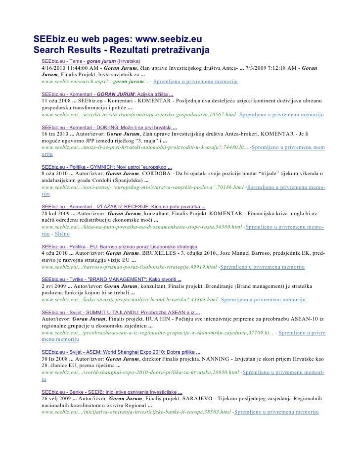 SEEbiz.eu web pages: www.seebiz.eu Search Results - Rezultati pretraživanja  SEEbiz.eu - Tema - goran jurum (Hrvatska)  4/...