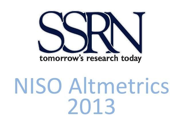 NISO Altmetrics 2013