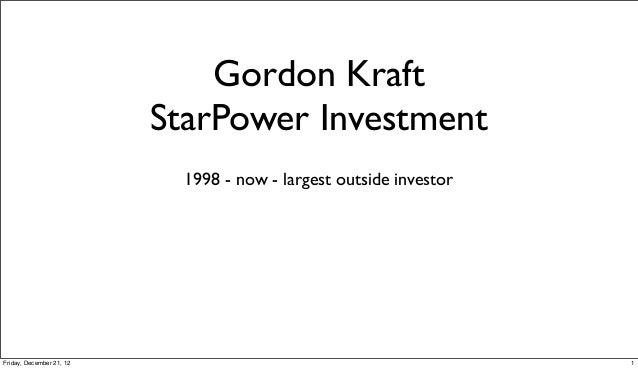 Gordon Kraft   StarPower Home Theater Angel Investment = 13.9%