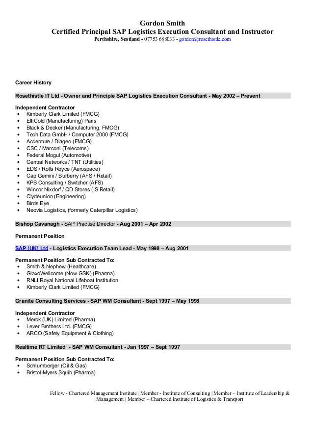 sap logistics execution consultant cv
