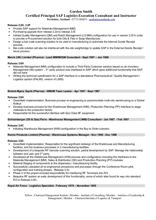 resume logistics - Product Consultant Sample Resume