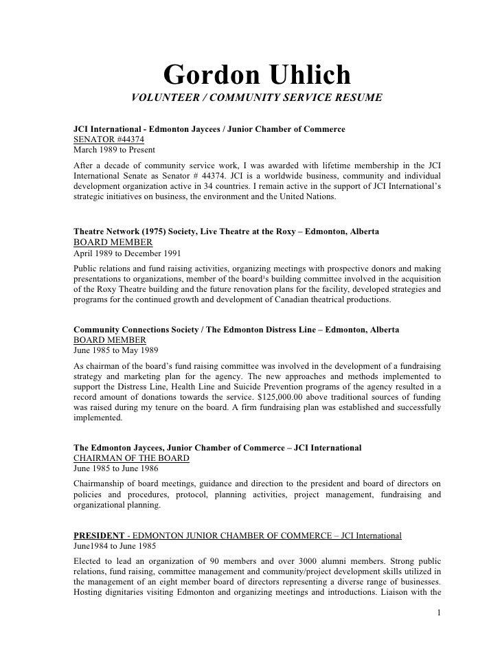 uhlich volunteer and community development resume