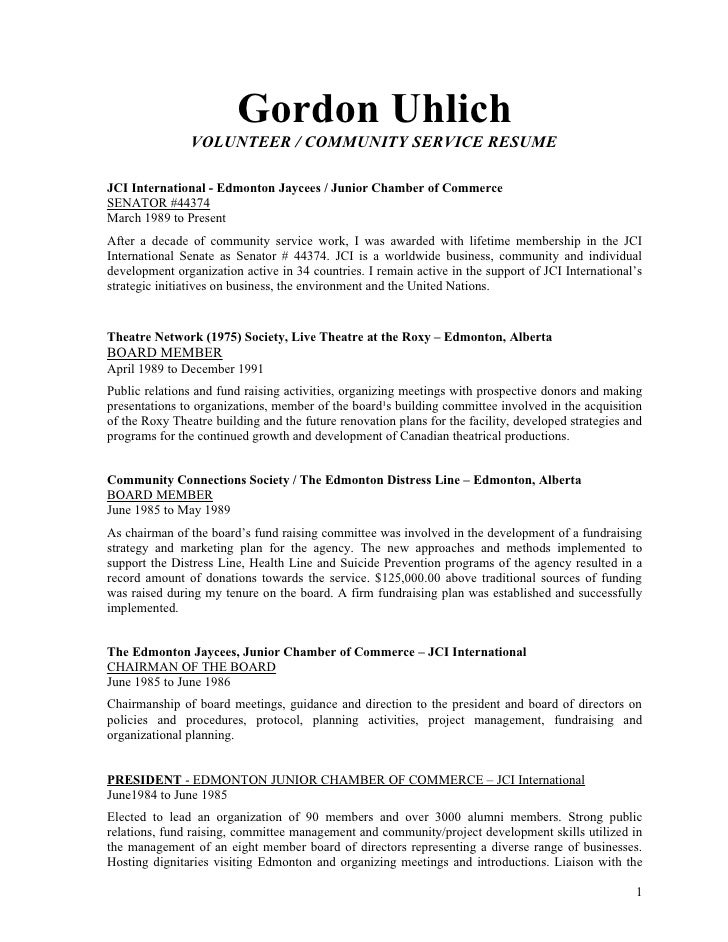 Gord Uhlich Volunteer And Community Development Resume